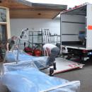Abtransport der Betten durch Mitarbeiter des DRK Ulm
